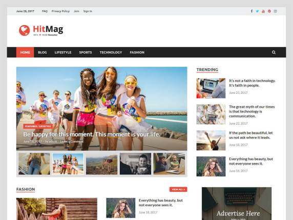 free and fast website themes for news - HitMag