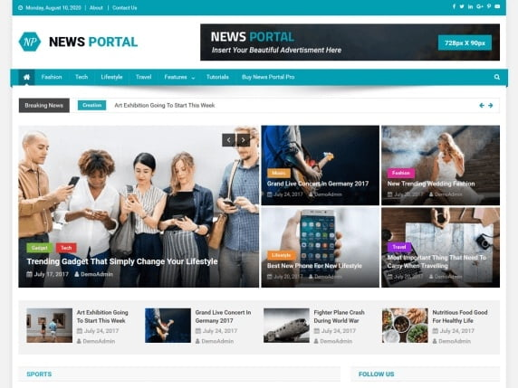 free and fast website themes for news-news portal