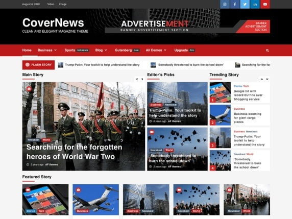 free and fast website themes for news-covernews
