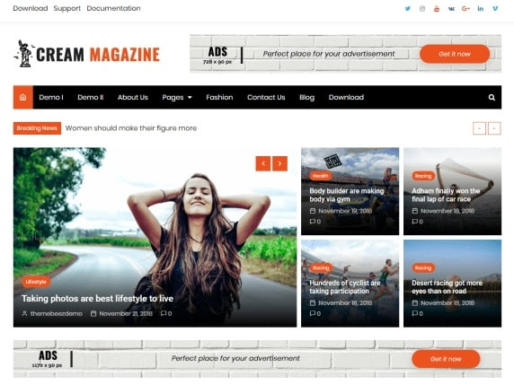 free and fast website themes for news-Cream magazine